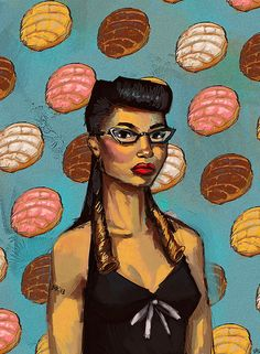 Latina With Pan Dulce - artist unknown but initials D.R.