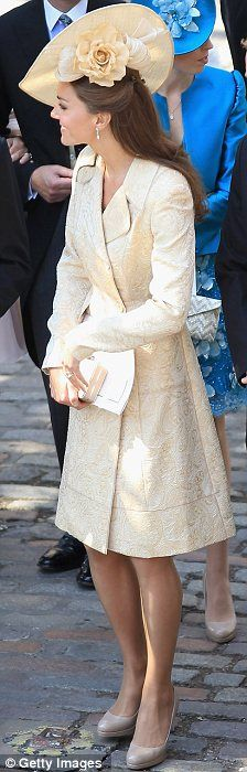 The Duchess of Cambridge wears a fabulous Gina Foster hat which was a gift from her husband Prince William to Zara & Mike Tindall's Wedding day, July 2011.