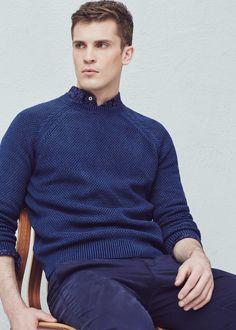 Textured cotton wool-blend sweater - Sweaters for Men | MANGO Man USA