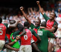 Sports: In the image above, you can see Kenya's national rugby team, The Sevens, celebrating a victory with joy. Rugby is a very popular sport in Kenya. Rugby is like a cross between American football and soccer. The first recorded game in Kenya was in 1909, and The Rugby Football Union of Kenya (RFU-K) was formed in 1923.