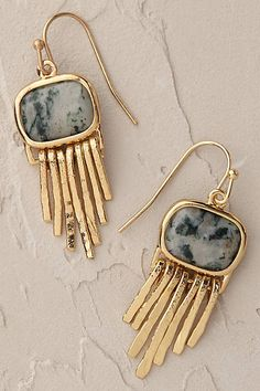Anthropologie EU Juniper Fringe Earrings. Softly shimmering strands and elegant jasper combine in these delicate, wear-them-with-everything earrings. A most versatile addition to jewellery collections.