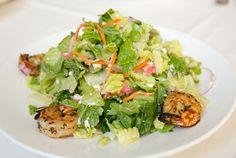 Petros Restaurant Manhattan Beach/ Louiza Salad with Shrimp, Shrimp Salad, Gluten Free, Gluten Free Dining, Greek Food, Healthy Eating, Manhattan Beach