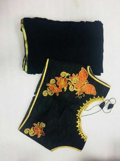 Beautiful jyorjett saree+ golden border with designer embroidered blouse size makeable upto xxxl sleeves inside attached