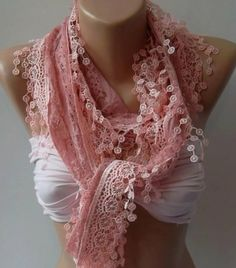 Pink Lace and Elegance Shawl / Scarf  with Lace Edge by womann, $19.90 by Nana Kate