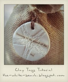 The White Bench: Tutorial: Beach- Inspired Clay Tags.