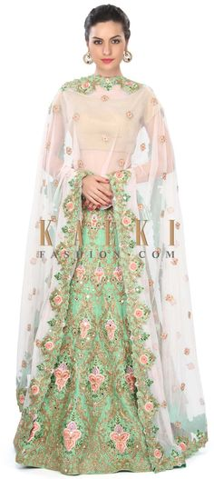 Buy Online from the link below. We ship worldwide (Free Shipping over US$100) Price- $2229 Click Anywhere to Tag http://www.kalkifashion.com/green-silk-lehenga-adorn-in-resham-and-zari-embroidery-only-on-kalki.html
