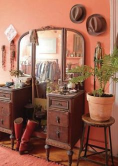 Vintage Dressing sarah ryhanen via design sponge. i love the idea of this color with this antique vanity/dresser. the colors together channel a John Fante novel set in Los Angeles. Peach Bedroom, Coral Bedroom, Bedroom Colors, Salmon Bedroom, Orange Bedroom Walls, Antique Bedroom Furniture, Furniture Vanity, Vintage Furniture, Coral Living Rooms