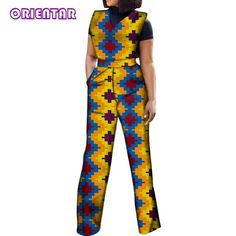 2020 African Jumpsuits for Women V-Neck Sleeveless Autumn Fashion Romper Wide Leg Pants African Batik Wax Print Jumpsuits African Dresses For Women, African Fashion Dresses, African Clothes, African Print Jumpsuit, Beautiful African Women, Womens Sleeveless Tops, Printed Jumpsuit, African Print Fashion, Jumpsuits For Women