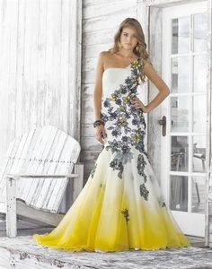 Ombre Tulle Peaches Boutique Dress. This Stunning Mermaid has a Fitted Solhouette, One Shoulder, and Full Skirt. This Long Dress is Cascaded with Delicate Flower Detailing that drapes your figure. Blush Prom Dresses 2012. Black or Yellow Accessories will Help Pull these Fantastic colors together and Make this Dress Pop! Wear this Dress for an Engagement Dress, Prom Dress, or Pageant Dress.