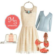 In this outfit: Fashionably Undulate Dress, Charter School Cardigan in Baby Blue, Seychelles On the Floor Heel in Coral, Fare Thee Swell Clutch, Notable Glamour Necklace    #lace #coral