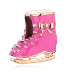 Charms Beads - 22 k silver ice skate bowknot pink drip gum gift kids jewelry fit all brands gold plated beads charms bracelets Image.