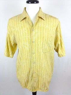 Tommy Bahama Shirt Silk Yellow Stripe Button Up Camp Hawaiian Resort Mens L | eBay