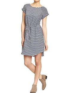Womens Striped Waisted Chambray Dresses.  Maybe with leggings and cardigan?