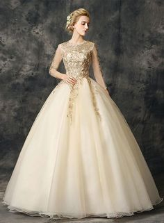 Gold Lace Long Prom Dresses Applique Long Sleeve Evening Dresses Ball Gowns  Wedding Dresses bac247f6b