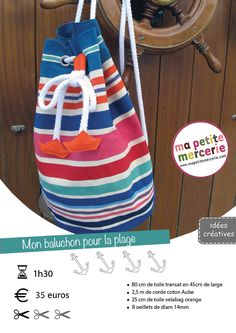 DIY sac de plage ma petite mercerie . com Coin Couture, Couture Sewing, Sewing Online, Diy Sac, Diy Backpack, Cool Backpacks, Fabric Bags, Kids Bags, Bag Accessories