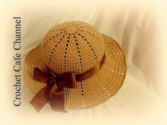 How to crochet summer sun protective hat Crochet Summer Hats, Crochet Cap, Crochet Beanie, Diy Crochet, Crochet Stitches, Knitted Hats, Crochet Patterns, Tutorial Crochet, Sombrero A Crochet
