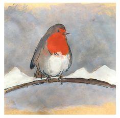 Roodborstje in de sneeuw Illustration, Painting, Art, Art Background, Painting Art, Kunst, Paintings, Illustrations, Performing Arts
