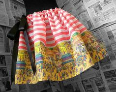 Wheres Wally, Waldo,KItsch Clothing,CHILDRENS SIZES< Womens Geek Clothes, Unusual Skirt, Wally Skirt, ROOBYS