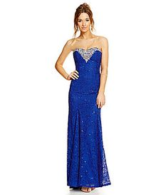 Sequin Hearts Strapless Beaded Sweetheart Long Lace Gown #Dillards