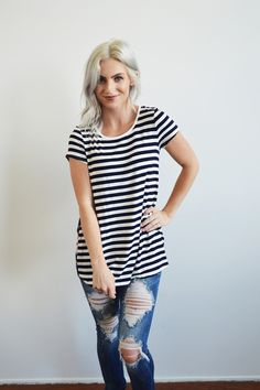 Navy Stripes and Bloom Tee - Obsessions Boutique