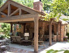 Outdoor patio using reclaimed heart pine wood beams Backyard Pavilion, Backyard Patio Designs, Pergola Designs, Backyard Landscaping, Outdoor Rooms, Outdoor Living, Outdoor Decor, Grange Restaurant, Covered Patio Design