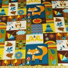 Wildlife Foxes, Hedgehogs, Trees and Leaves Cotton Craft Fabric 50cm x 50cm