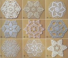"""Round patterns, squares or triangles, with their free charts, found at the site of   """"Silvana"""" ."""