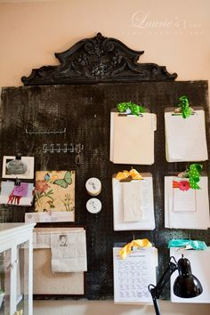 great idea - painted peg board    Take away the feminine details