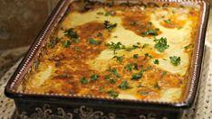 MUSACA vegetariană – cu orez, vinete, dovlecei, piure de cartofi şi linte