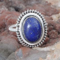 DESIGNER 925 SOLID STERLING SILVER Lapis FANCY RING 7.22g DJR9597 SZ-8 #Handmade #Ring
