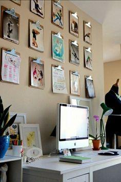 klemmbrett office wanddeko ideen kreativ