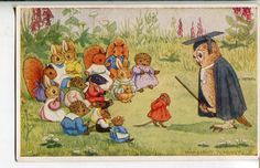 The Village School by Margaret Tempest, Dressed Animals Colorful English Postcard, Pk 81 by sharonfostervintage on Etsy