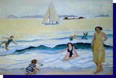 """Maurice Denis ~ """"Jeux dans les vagues à Trestrignel"""", 1925"""