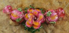 Lampwork Beads, Glass Beads, Handmade, Roses, Peace Roses, Pink Flowers Garden Flowers, Rose Buds, Spring, Flowers, SRA #371 by CC Design