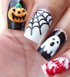 Get creative with these Halloween characters on your nails. Draw pumpkins, ghosts, cobwebs and blood splatter on your nails to make them look even more interesting.