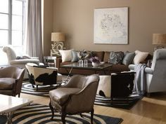 Modern Living Room Brown Leather Couch Design, Pictures, Remodel, Decor and Ideas - page 4 Brown And Blue Living Room, Beige Living Rooms, Paint Colors For Living Room, Living Room Modern, Living Room Bedroom, Rugs In Living Room, Living Room Interior, Room Colors, Small Living