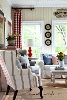 Savvy Southern Style: Spring In The Sun Room, Pottery Barn basic sofa, Pottery Barn Thatcher chair, Antique Farmhouse bird prints, Decor Steals antiques sign, H & M pillow covers, Pottery Barn pillow covers, red buffalo checked curtains, beadboard