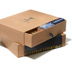 The Essentials Box Navy Gift Set Food Box Packaging, Gift Packaging, Packaging Design, Tie Gift Box, Tie Box, Gift Box Design, Small Gift Boxes, Custom Gift Boxes, Shipping Boxes