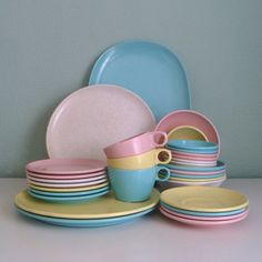 Melamine Pastel Confetti Dish Set in Easter Colors - Pink, Blue, Yellow, White Imperial Ware.
