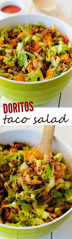 Doritos Taco Salad - Seasoned ground beef, black beans, tomatoes, lettuce and of course nacho cheese Doritos. You can't go wrong with this classic salad! Mexican Food Recipes, Beef Recipes, Dinner Recipes, Cooking Recipes, Healthy Recipes, Ethnic Recipes, Hamburger Recipes, Recipies, Soup Recipes