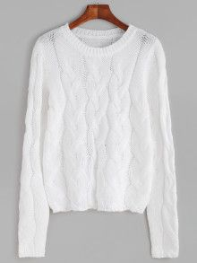White Cable Knit Pullover Sweater