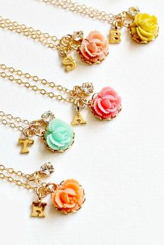 Rose Initial Necklace