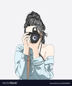 A woman holds a stylish camera and wears a denim jacket Premium Vector Tumblr Girl Drawing, Cute Girl Drawing, Cartoon Cartoon, Art And Illustration, Camera Illustration, Illustration Fashion, Girly Drawings, Anime Girl Drawings, Easy Drawings