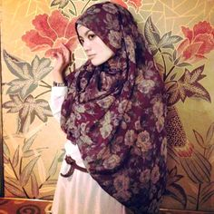 Calming and modest, floral but dark hijab pattern