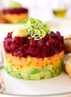 Beets and sweet potatoes come together in a simple dressing to make this vegan-friendly beet and sweet potato tartare. Serve as an appetizer or main dish.