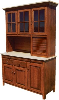 Amish Kitchen Hoosier Cabinet Hutch Baking Pantry Solid Wood Country Rustic New | eBay