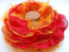 Orange flower brooch organza red veil and brown by CrystalHandmade, $14.00 Gemstone Jewelry, Unique Jewelry, Orange Flowers, Flower Brooch, Small Businesses, Veil, Brooches, Group, Trending Outfits