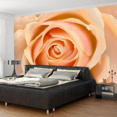 Peach-Coloured Rose x Wallpaper East Urban Home Star Wallpaper, Embossed Wallpaper, Modern Wallpaper, Wall Wallpaper, Tube Carton, Motifs Roses, Tile Panels, Extra Large Wall Art, Mural Wall Art