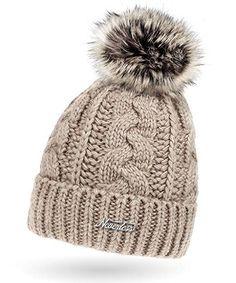 Damen Strick-Mütze gefüttert mit Fell-Bommel, Kunstfell, Winter-Mütze, Bommelmütze, Neverless® hell-beige unisize