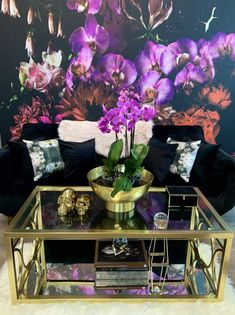 """""""Black Dahlia"""" is an oversized floral design featuring stunning tones of black, purple, fuchsia, pinks, reds, and creams and displays a multitude of orchids, peonies, dahlias and freesia. Instantly creates a luxurious vintage space and will take a babe cave, bedroom or dining room from beautiful to unforgettable. This mural comes with a gold leaf kit to add real gold leaf in areas that you really want to see shine!! Murals are made in sections that are approximately 24"""" wide each Prepasted Wallpaper, Adhesive Wallpaper, Peel And Stick Wallpaper, Wall Wallpaper, Wall Mural Decals, Removable Wall Murals, Wall Art, Wall Decor, Black Dahlia"""